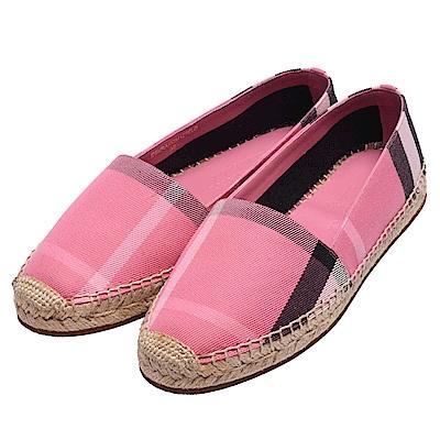 BURBERRY 經典格紋亞麻棉質麻織鞋(玫粉)