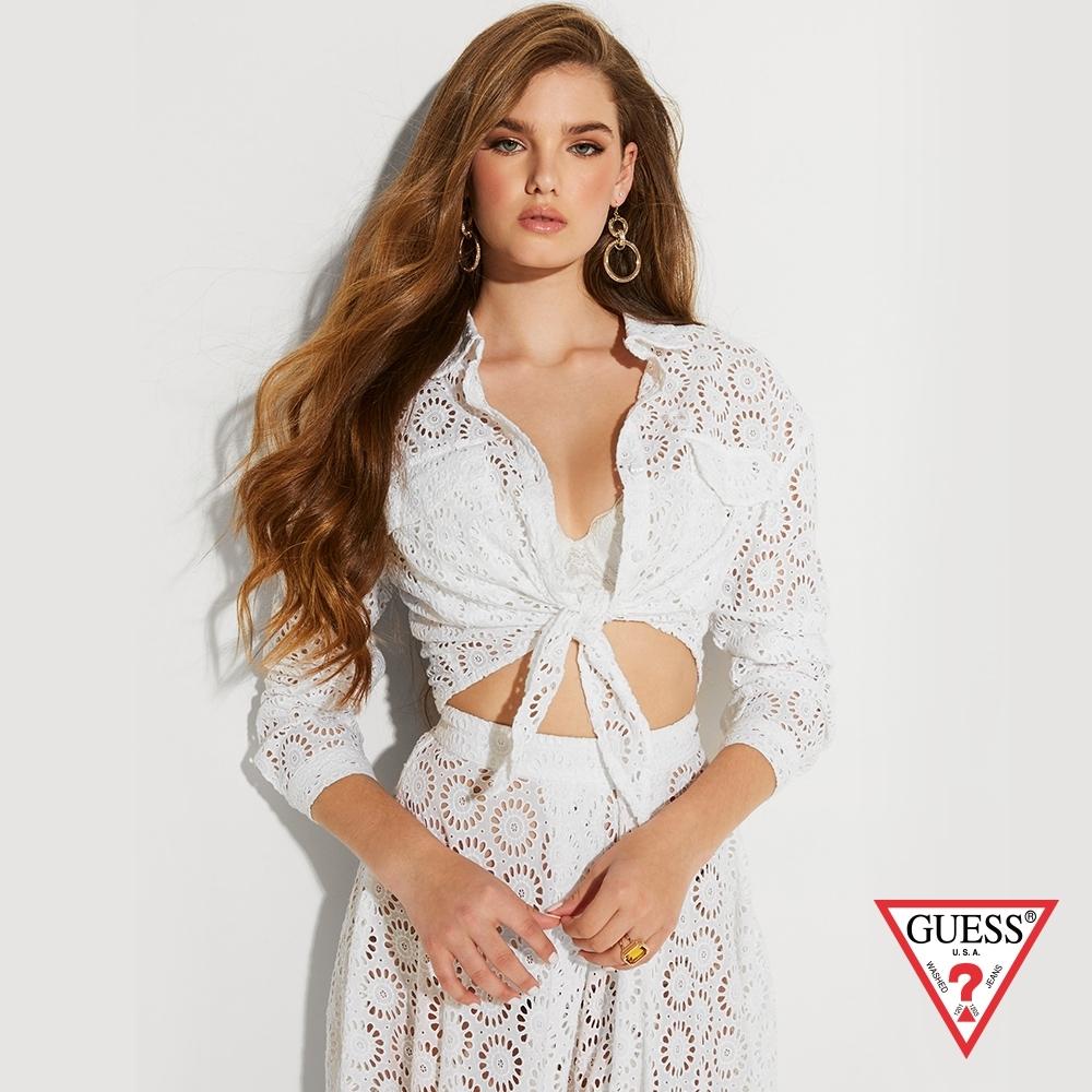 GUESS x J.Lo聯名款 女裝-造型刺繡綁帶襯衫-白 原價1990