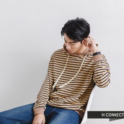 H:CONNECT 韓國品牌 男裝-復古條紋抽繩連帽T-卡其色