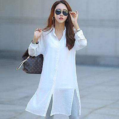 正韓 純色透光開衩長版長袖襯衫 (白色)-N.C21