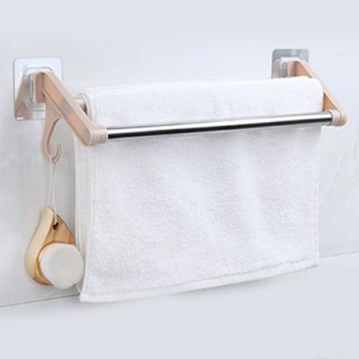 2入 無痕黏貼不鏽鋼雙桿毛巾架 掛架 抹布架 免打孔 晾乾瀝水