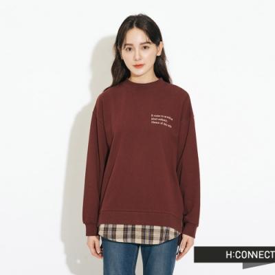 H:CONNECT 韓國品牌 女裝-層次感格紋拼接上衣-棕