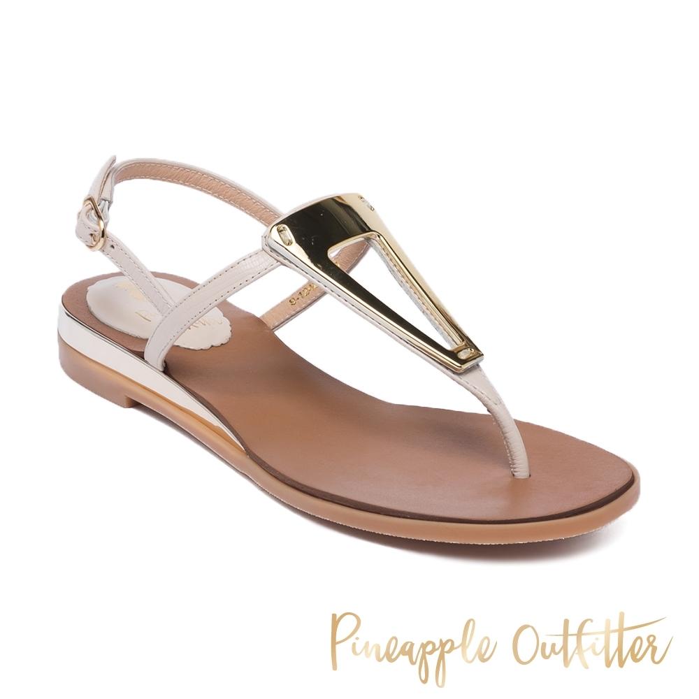 Pineapple Outfitter-SEBBIE 真皮性感金飾釦一字涼拖鞋-米杏色