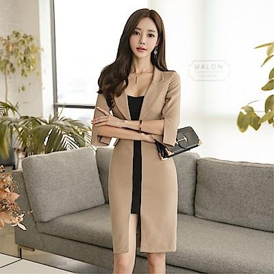 DABI 韓系氣質西裝領拼色修身顯瘦開叉長袖洋裝