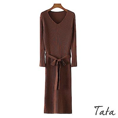 綁帶V領坑條紋針織洋裝 共三色 TATA
