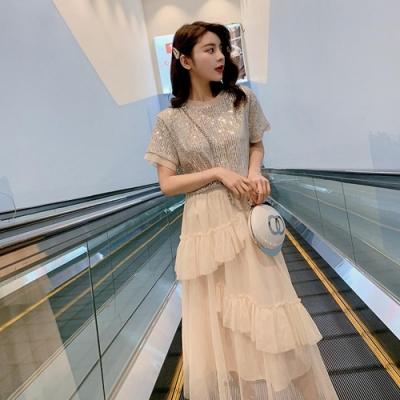 IMStyle 時尚亮片上衣網紗蛋糕裙(套裝)(2色-杏色、黑色)