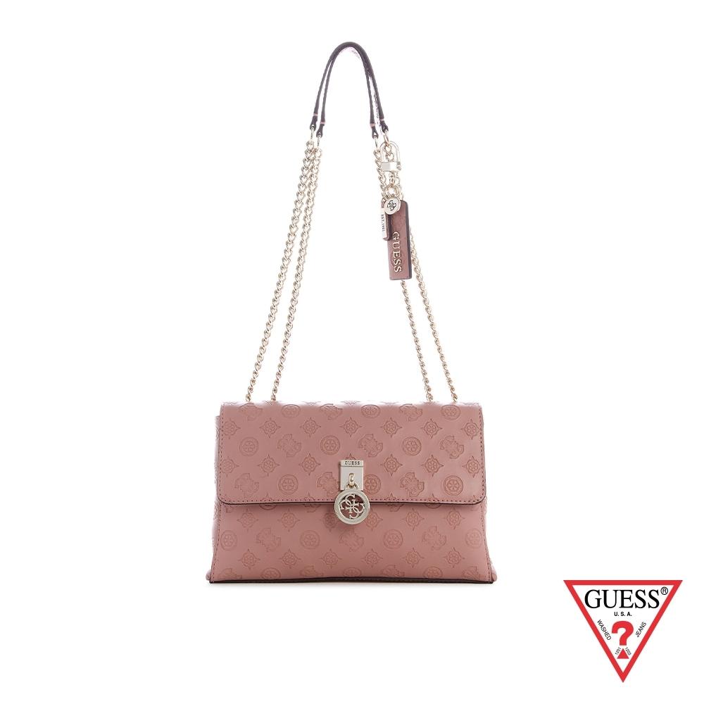 GUESS-女包-時尚LOGO壓印鍊條肩背包-粉 原價3090