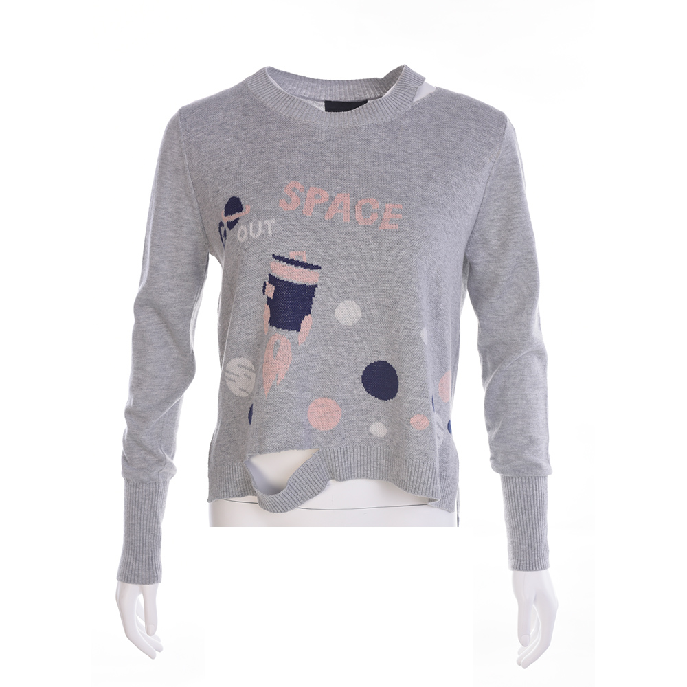 gozo 太空火箭星空破洞造型設計毛料線衫(2色)