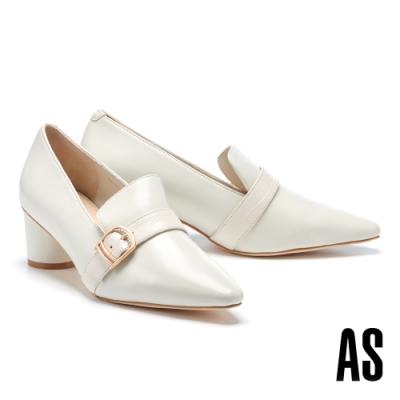 高跟鞋 AS 俐落金屬釦全真皮高跟鞋-白