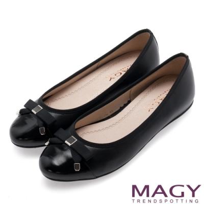 MAGY 清新蝴蝶結真皮 女 平底鞋 黑色