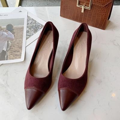 KEITH-WILL時尚鞋館 女人最大復古風情尖頭細跟鞋-酒紅
