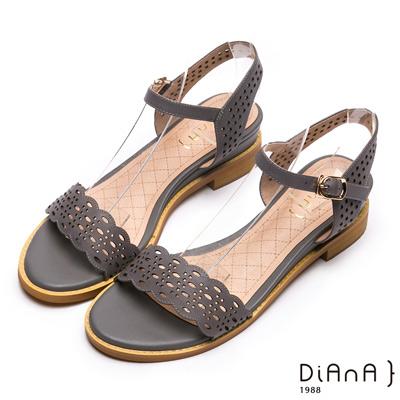 DIANA波浪雷射沖孔羊皮涼鞋-優雅氣質-灰藍色