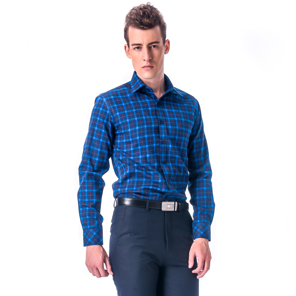 金‧安德森 深淺藍黃大格紋保暖窄版長袖襯衫
