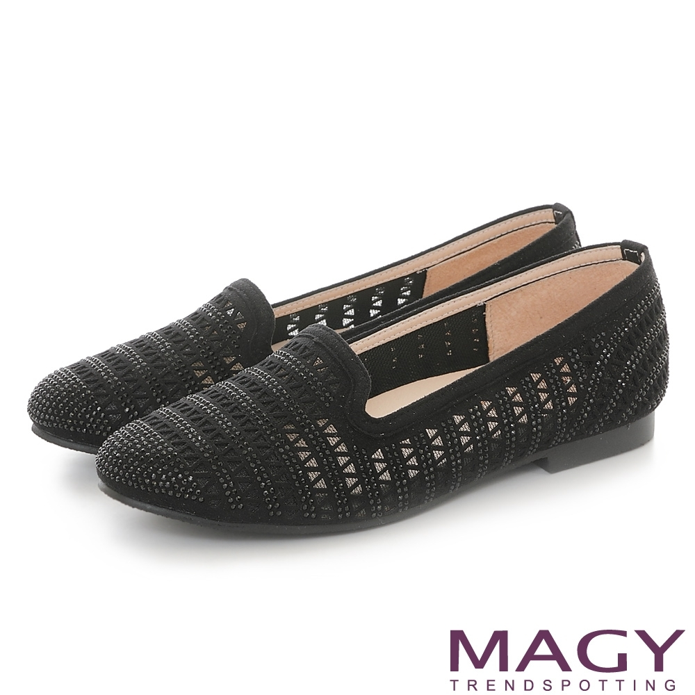 MAGY 幾何透明網狀燙鑽平底鞋 黑色