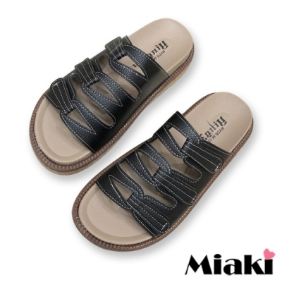 Miaki-拖鞋韓妞經典厚底涼拖-黑