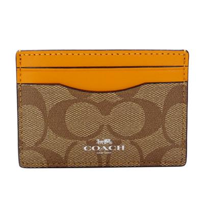 COACH卡其C Logo拼接橙色真皮雙面名片/票卡夾