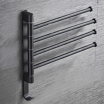 AA602-B4 黑色 免打孔太空鋁 四桿 可旋轉毛巾桿無痕免貼加厚毛巾架多桿毛巾置物架