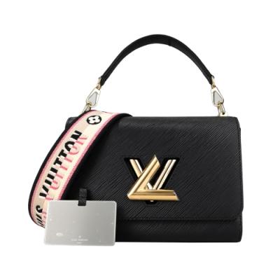 Louis Vuitton TWIST MM系列經典LOGO牛皮刺繡背帶肩/斜背包(黑)