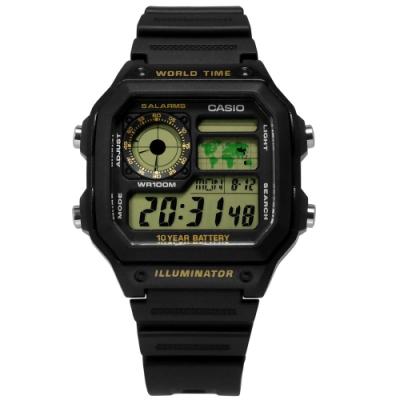 CASIO 卡西歐 電子液晶 計時碼錶 世界時間 防水100米 橡膠手錶-黑色/40mm