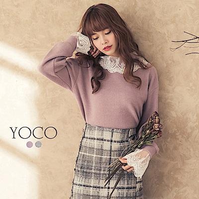 東京著衣-yoco 甜氛馬卡龍翻領蕾絲柔軟毛料上衣-S.M.L(共二色)