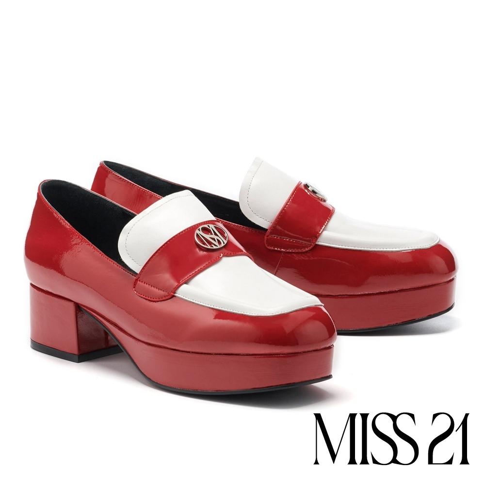 高跟鞋 MISS 21 復古時髦LOGO撞色大方頭樂福粗高跟鞋-紅