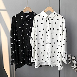 韓國空運 長版圓點雪紡襯衫-2色-TMH