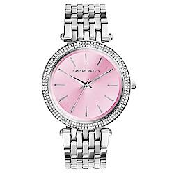 HANNAH MARTIN 點睛品雙圈鑲鑽不鏽鋼腕錶(HM-1185-P)粉x40mm