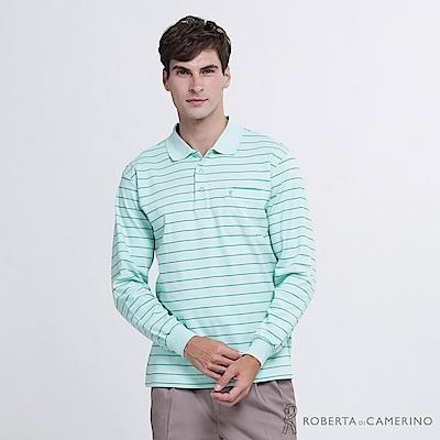 ROBERTA諾貝達 台灣製 經典條紋 合身版 純棉長袖POLO衫  淺綠