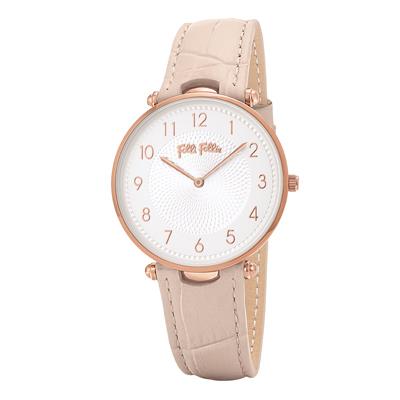 Folli Follie浪漫氣質皮革腕錶-粉(WF17R015SSS-PI)