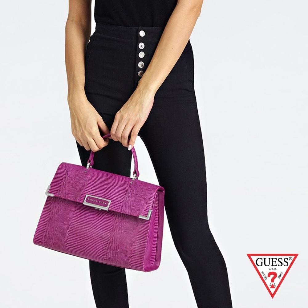 GUESS-女包-壓紋線條手提包-紫