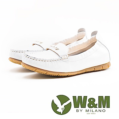 W&M 金屬一字休閒女鞋-白(另有藍)