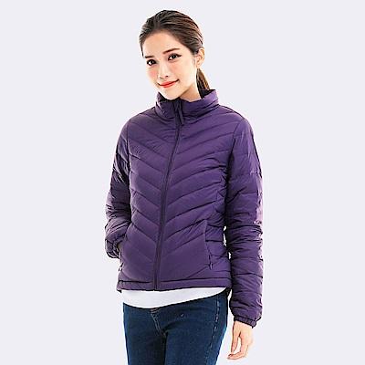 101原創 防潑水立領刷毛保暖羽絨外套-女-紫
