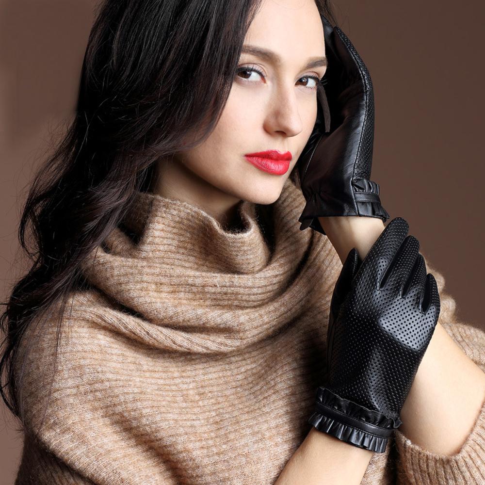 ego life小羊皮打孔荷葉邊絲綢裡全掌觸控保暖女手套 黑色