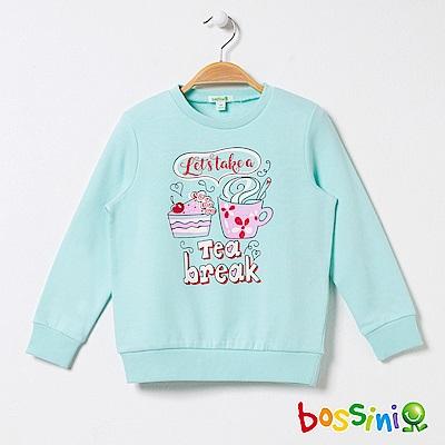 bossini女童-印花厚棉運動衫07藍綠