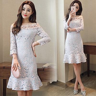 DABI韓系名媛一字領蕾絲荷葉邊甜美七分長袖洋裝