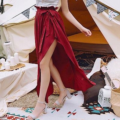 AIR SPACE 花苞設計棉質長裙(附綁帶)(紅)