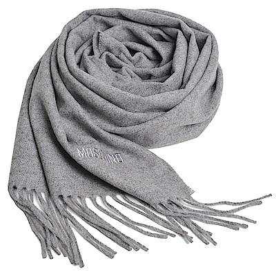 MOSCHINO 義大利製美麗諾羊毛字母LOGO刺繡高質感羊毛圍巾(淺灰)