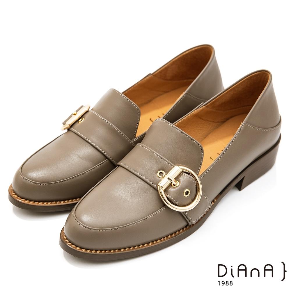DIANA 3公分質感水染雙色牛皮金屬D釦鉚釘皮帶飾樂福鞋-漫步雲端焦糖美人款-灰