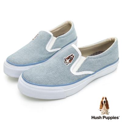 Hush Puppies 經典中性咖啡紗懶人鞋-淺藍