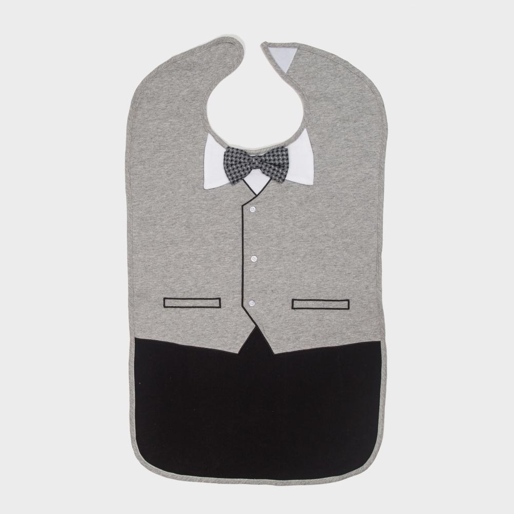 美國Frenchie MC 灰色燕尾服成人防水圍兜禮盒