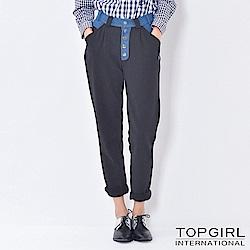 【TOP GIRL】混搭拼接平織休閒褲 - 神祕黑