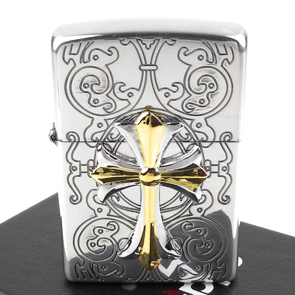 ZIPPO 日系~Cross Combination -十字金屬貼飾打火機