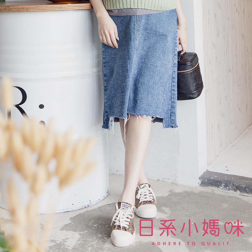 日系小媽咪孕婦裝-孕婦褲~下襬抽鬚不規則牛仔裙 M-XL
