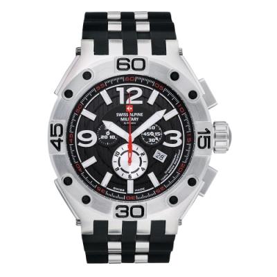 阿爾卑斯軍錶S.A.M 紅色警戒系列重磅款/黑色橡膠錶帶/50mm
