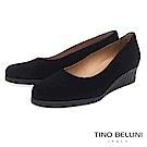 Tino Bellini西班牙進口全真皮異材質小坡跟鞋_黑