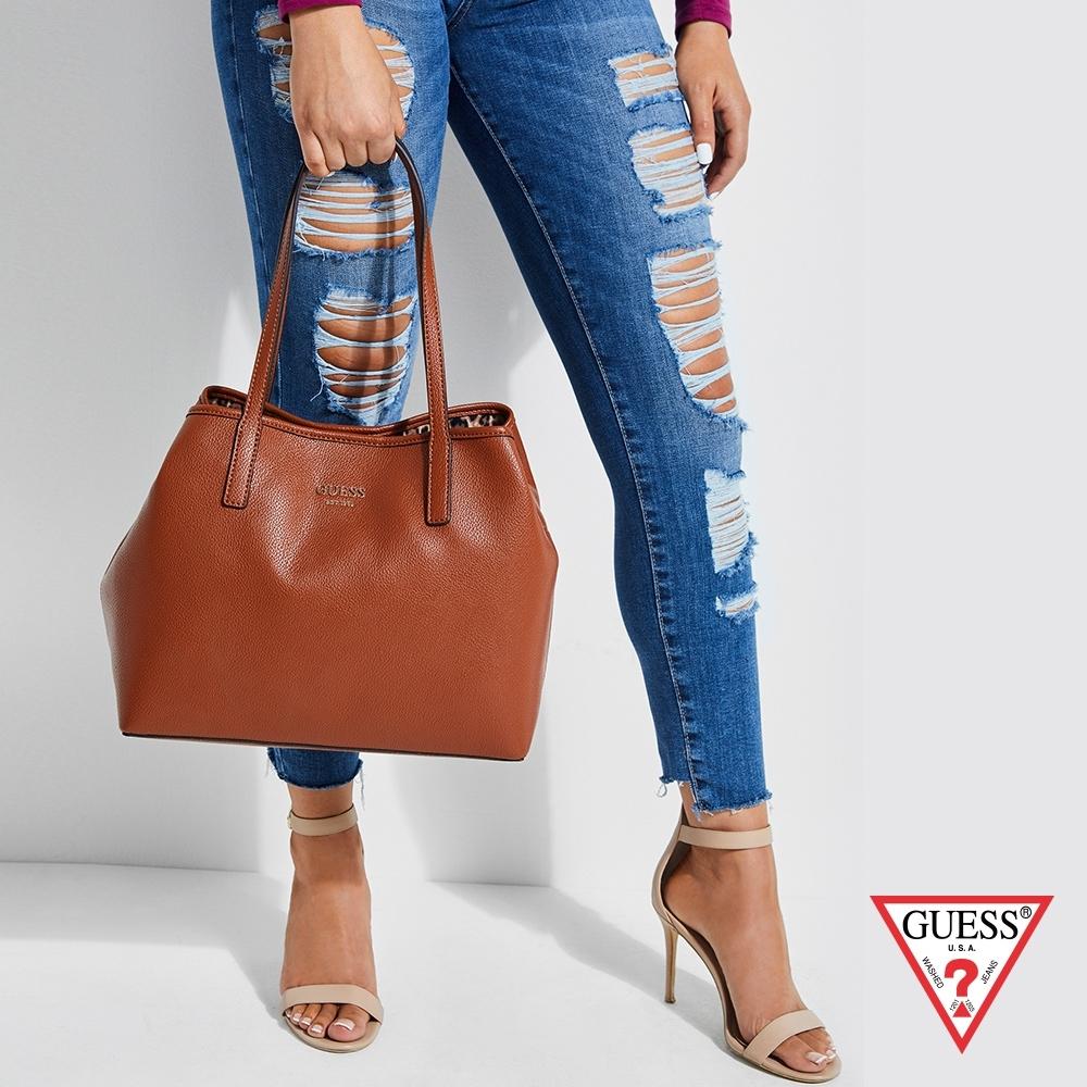GUESS-女包-簡約素色時尚子母手提包-淺咖
