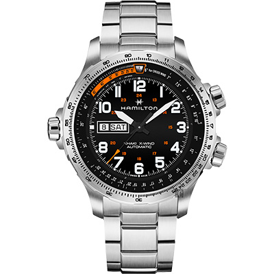 Hamilton 漢米爾頓 KHAKI  X-Wind 御風者機械錶-黑x銀/45mm