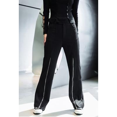 設計所在Style-拉鏈裝飾修身顯瘦長腿喇叭褲