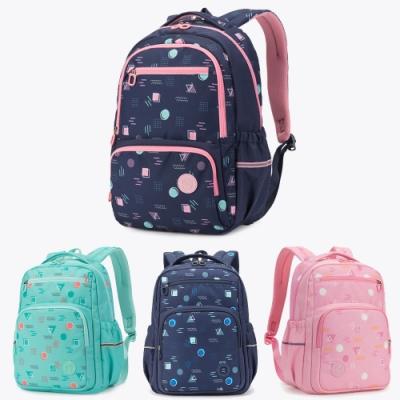 【優貝選】夢幻幾何多彩印花小學生書包 後背包1-6年級適用