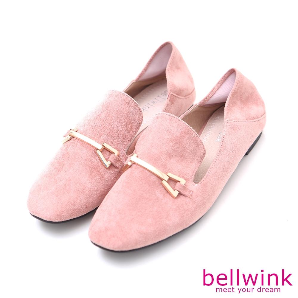 bellwink-絨毛金屬雙扣紳士鞋-粉-b9703pk
